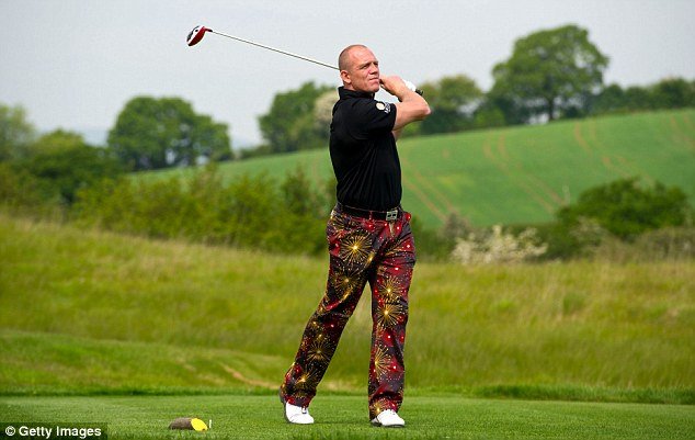 Embracing golf style: Mike Tindall takes part in the Celebrity Golf Classic in support of Rugby for Heroes