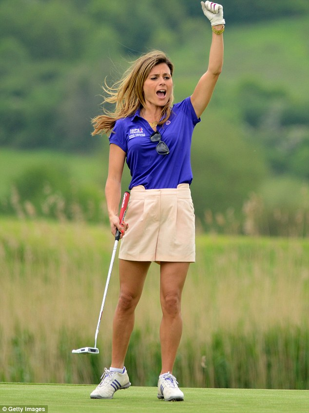 Hole in one? She celebrates one of her shots