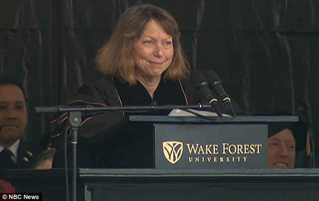 Brave face: Jill Abramson honored her commitment to give the commencement address at Wake Forest University even though she had been fired from her job as the executive editor of The New York Times last week
