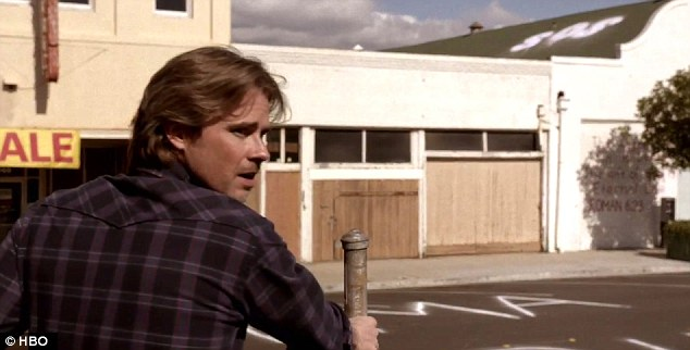Defence of the town: Shapeshifter Sam Merlotte is seen in the trailer in a deserted high street