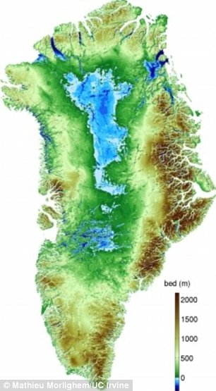 Map of Greenland is shown here. The ice is in white, ice-free land is in brown, and floating ice in blue