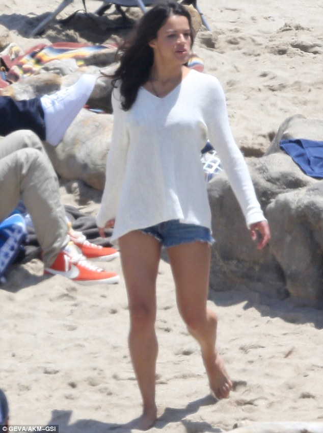 Legsy Lopez: Michelle Rodriguez character may be due a name change after she showed off her pins in hotpants as she filmed Fast & Furious 7 in Malibu on Monday