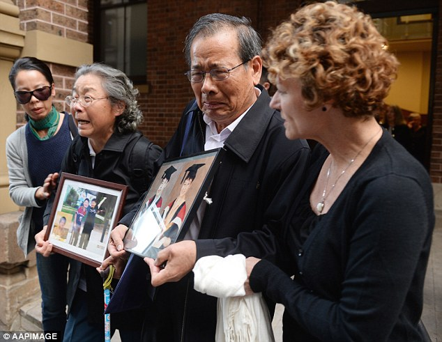The parents of Kathy Lin outside the NSW Supreme Court, after Yang Fei Lin gave evidence on Tuesday