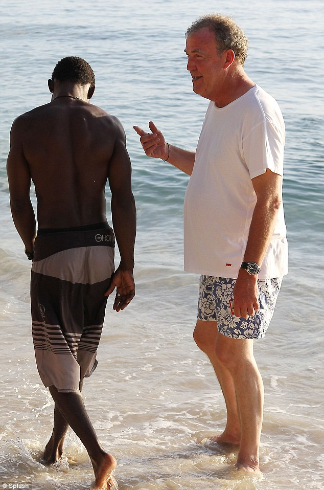 Do you recognise me? Jeremy enjoyed some down time in the Caribbean and chatted animatedly to locals as filming for BBC show Top Gear concluded