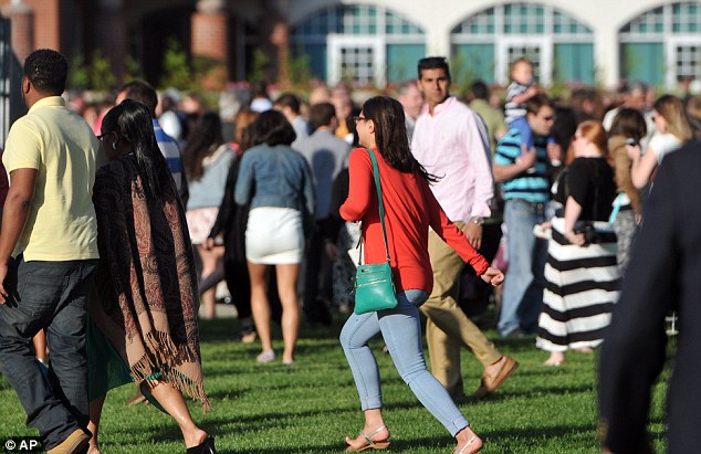 Evacuation: Up to 5,000 people had to flee the main quad at the Quinnipiac University commencement after Shea called in bomb threats