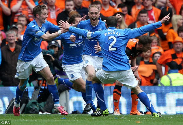 Joy: STeven Anderson (centre) celebrates scoring during the final at Celtic Park