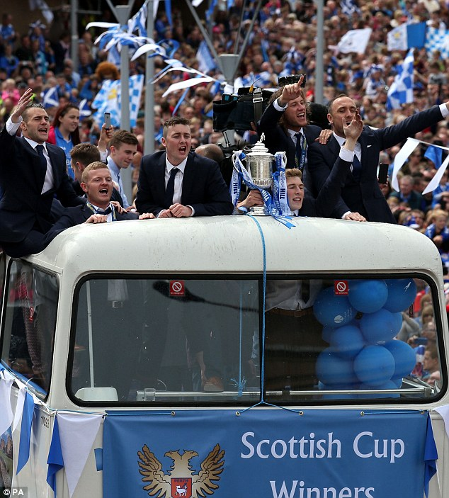 Parade: The Scottish Cup winners on an open top bus through the streets of Perth
