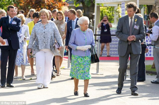 HM the Queen accompanied by HRH the Duke of Edinburgh visits the RHS Chelsea Flower Show at the Royal Hospital