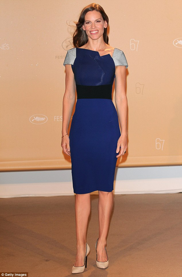 Très chic! Hilary Swank was an absolute vision as she attended a photocall during the 67th Cannes International Film Festival on Monday, looking resplendent in a striking royal blue frock