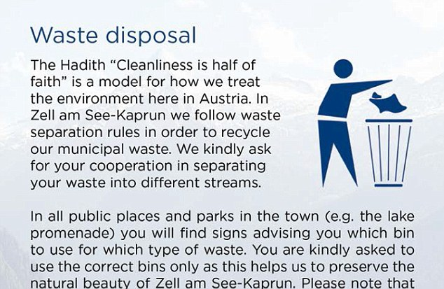 Etiquette guide: The pamphlet includes advice on how to dispose of rubbish in the area