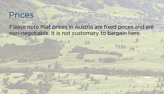 'No haggling': The tourism guide includes details of how to pay for goods in Salzburg