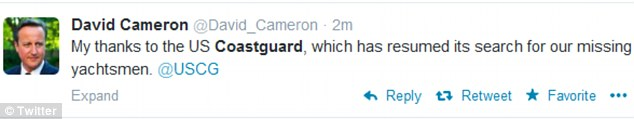 Thanks: David Cameron was quick to applaud the Coastguard on Twitter