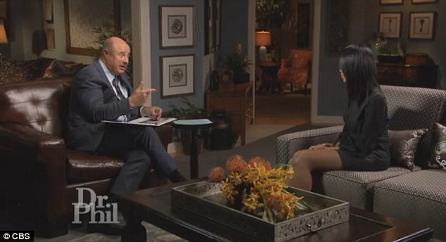 Acting crazy: In preview clips of the interview, Dr Phil calls out Stiviano's strange behavior - including wearing her now-signature visor while rollerblading