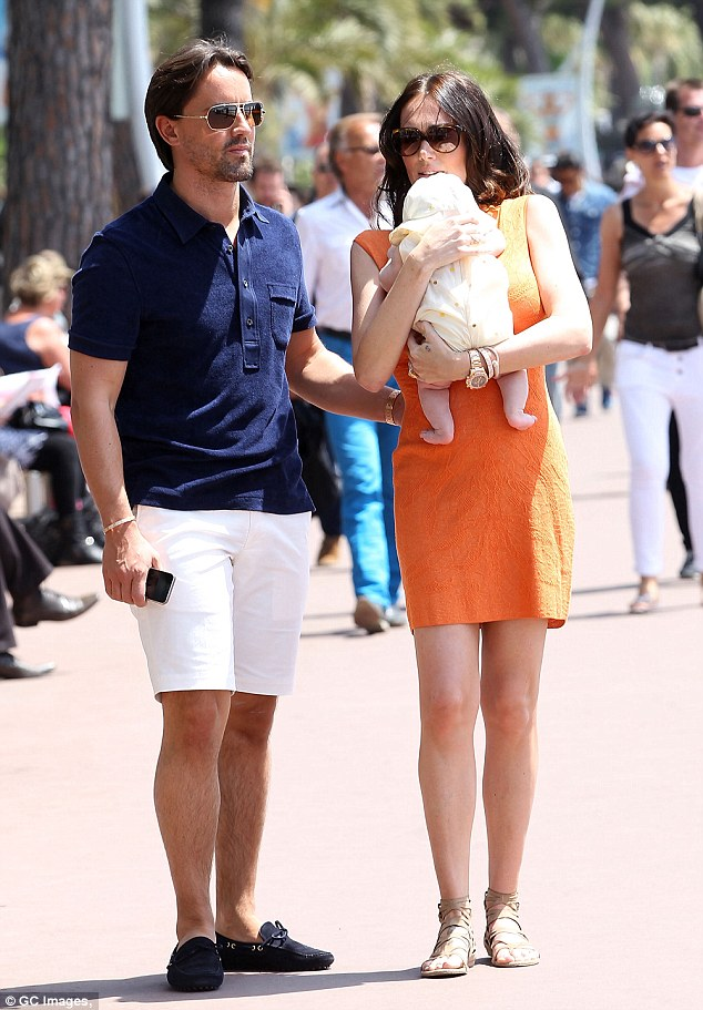 Bright idea: Tamara Ecclestone and Jay Rutland were seen walking in Cannes on Tuesday with baby Sophia