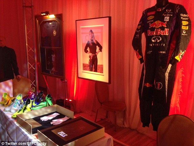 Haul: These were just some of the items up for auction at England's money-raising charity gala