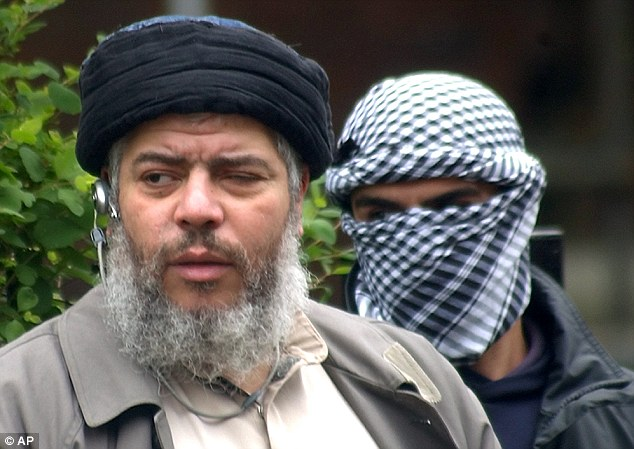 Muslim cleric Abu Hamza al-Masri in the street outside the closed Finsbury Park Mosque in London