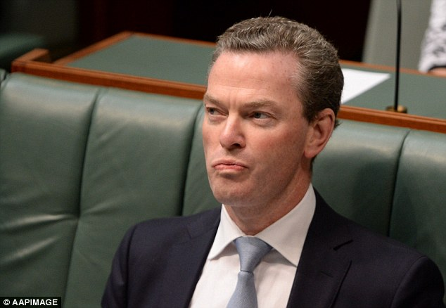 Safety at risk: Christopher Pyne was also set to join the Prime Minister on his tour to the opening of a carbon fibre research facility at Deakin University