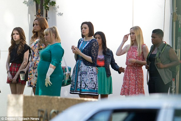 Here they are: The two actresses were joined on set by cast-mates new and old, amongst them Alexis Knapp, Anna Kamp, Chrissie Fit and Elizabeth Banks, who also directs