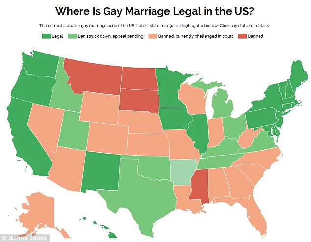 Pictured: Pennsylvania became the 19th state to legalize gay marriage on Tuesday. In doing so, it joined every other state in the Northeastern U.S.