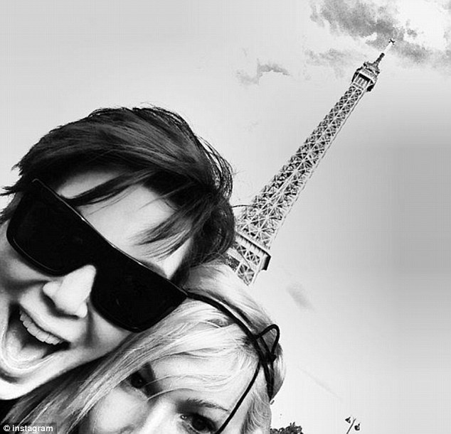 Made-up: Kardashian family friend and make-up artist Joyce Bonelli poses with Kris Jenner by the Eiffel Tower after flying in for the wedding