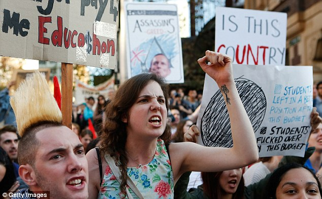 Thousands of student protesters took to the streets in cities across the country to protest cuts to federal government spending on higher education