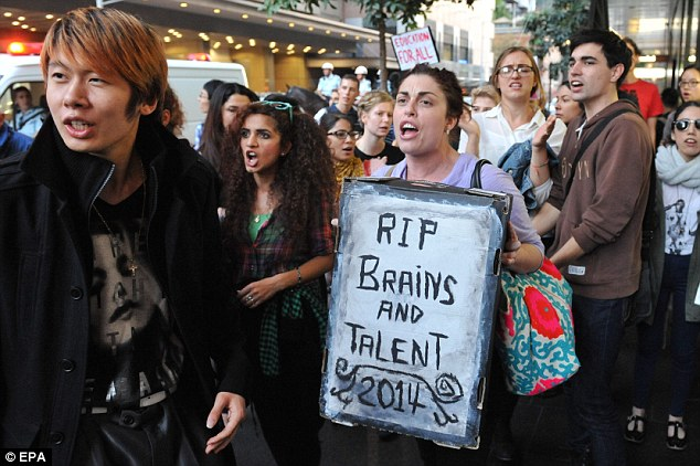 Two people were arrested in Sydney yesterday after thousands of people took to Sydney's streets to protest the cuts