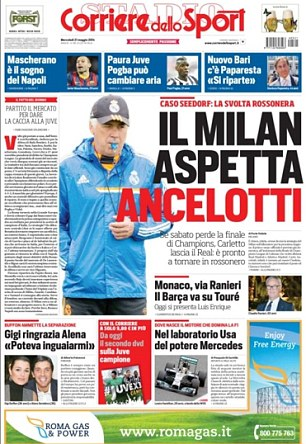Close watch: Milan will move to bring Carlo Ancelotti back to Italy if Real Madrid lose the Champions League trophy, according to Corriere
