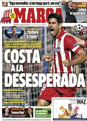 Desperate measures: Atletico striker Diego Costa has flown to Serbia for placenta treatment on his hamstring injury, according to Marca