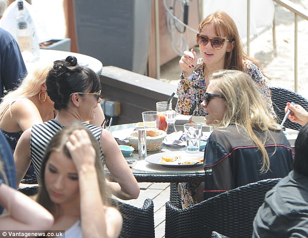 Ladies who lunch: The women were  seen enjoying lunch together