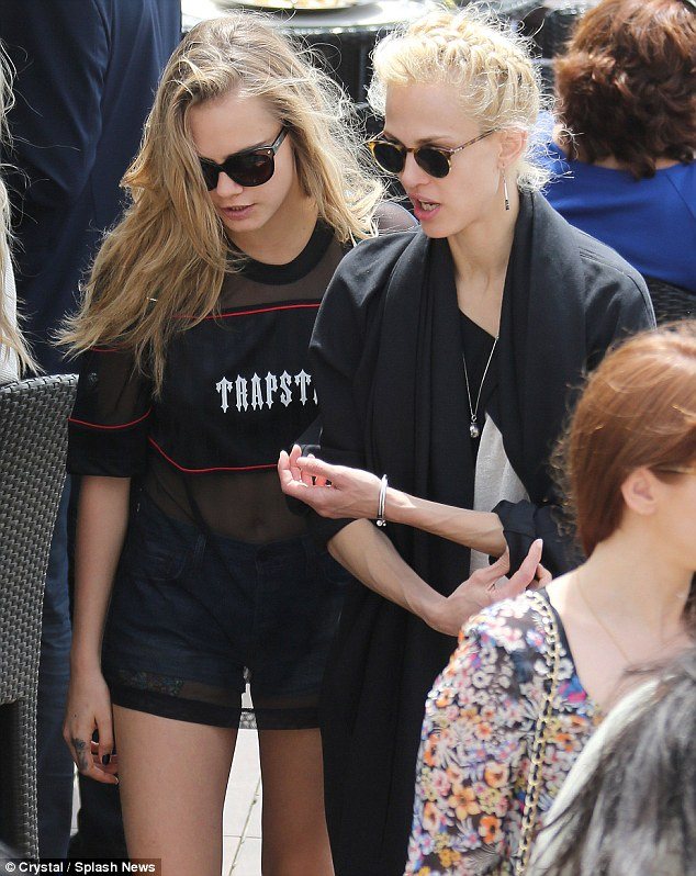 A meeting of model minds:  Cara was seen enjoying lunch with Aymeline Valade in Cannes on Wednesday