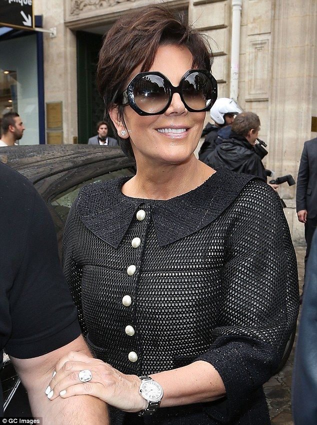 Statement accessory: Kris Jenner wore her wedding ring as she stepped out in Paris, France on Tuesday