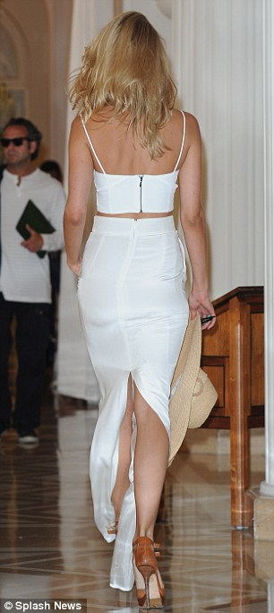 Looking good: Kimberley was on form as she strode through the luxurious hotel's foyer on Wednesday