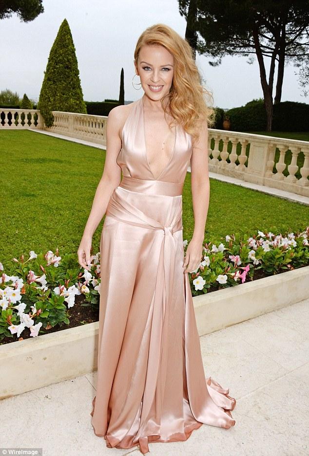 Dusty rose: Kylie Minogue's amFAR dress was a gorgeous subtle colour that oozes old school glmaour