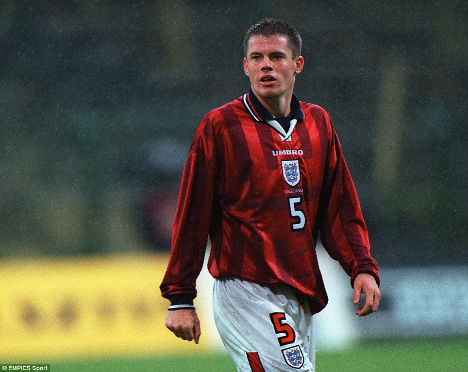 Jamie Carragher playing for England's Under 21 team in 1997