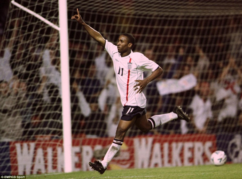 England's Jermain Defoe celebrates scoring the second goal on his debut against Mexico