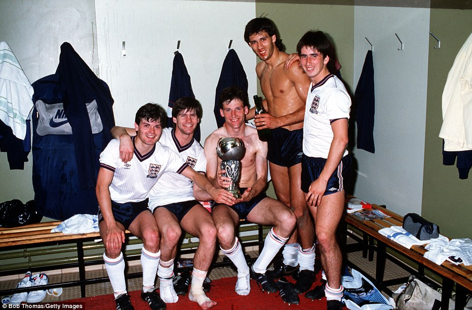 European Under-21 Championship final, second leg: Steve Hodge, Paul Bracewell, Dave Watson, Mark Hateley and Nigel Callaghan celebrate with the trophy