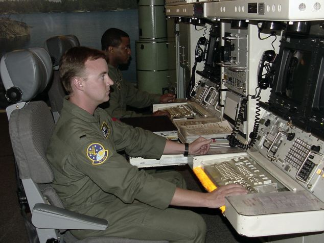 The underground command console from where the USAF could launch nuclear missiles in the event of war, at the Quebec Launch control center, Montana