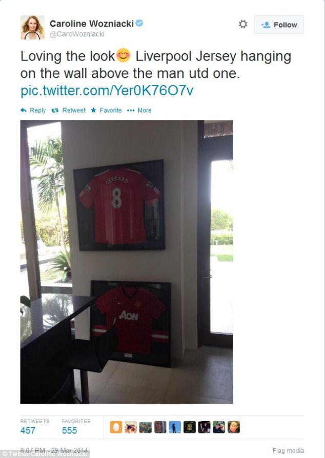 Banter: During their relationship Wozniacki had often engaged in online football banter with McIlroy, once posting a photograph of a Liverpool shirt on her wall, before adding she 'might be in trouble' for doing so