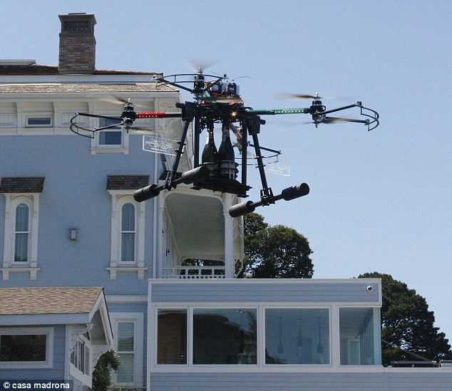 Special delivery: The drone can fly up to the terrace of the Alexandria Suite and deposit two bottles of Champagne at a time
