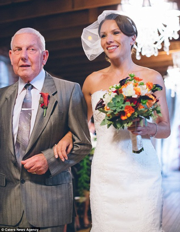 Joy: Graham Wagstaff was so ill with lung disease that he feared he wouldn't live to see daughter Helen's wedding day - let alone walk her down the aisle
