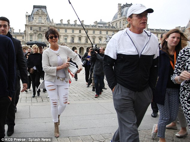 Out and about: Kris and Bruce Jenner added fuel to speculation they may have reconciled on Thursday as they headed out for a spot of sight-seeing in Paris ahead of her daughter Kim Kardashian's wedding