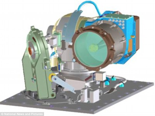 Scientists at MIT say they have devised a way to transfer large amounts of data quickly and easily across the vast expanse of space. This could provide future astronauts with a 'broadband network' on the moon. This is a computer-aided design drawing of the optical module on the satellite showing the telescope and gimbal (pivoted support)