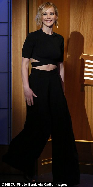 Dressed to impress: Although she told mortifying stories of her drunken behaviour, Jennifer looked chic and elegant for the taping