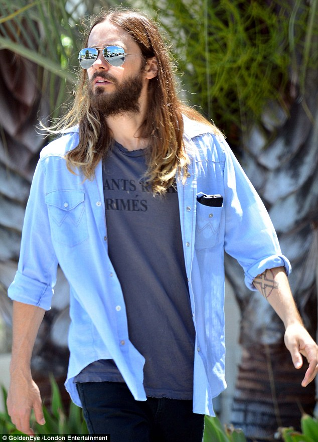 Hairy hipster: Jared Leto headed out to lunch with a friend in Larchmont, California, on Wednesday