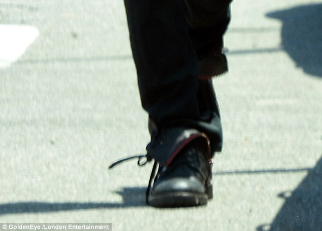Serious boots: The 42-year-old wore his favourite Zadig & Voltaire Joe boots, which are now sold out worldwide