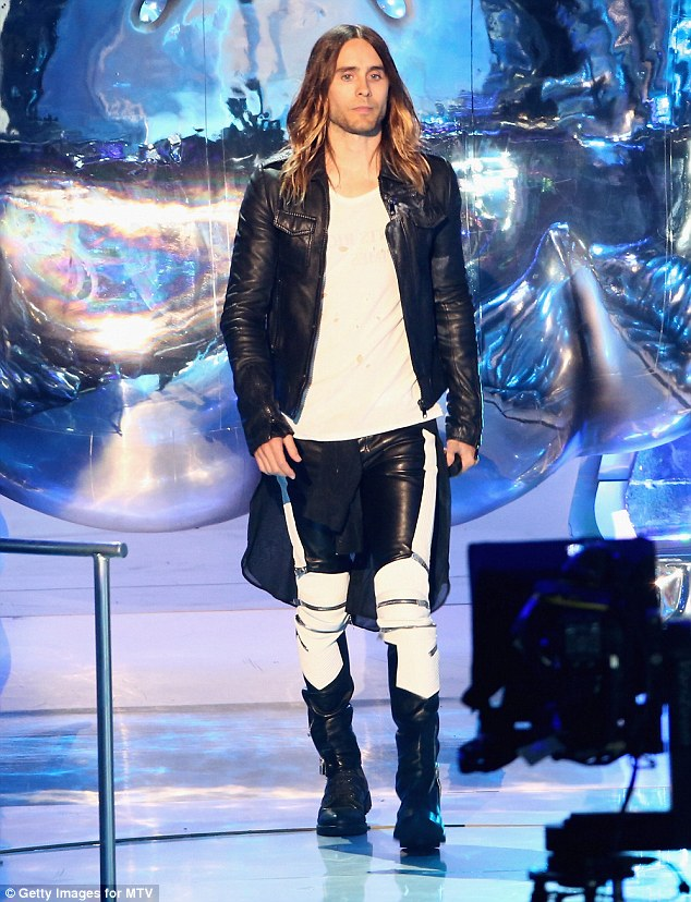 Fancy pants: The Dallas Buyers Club star has a taste for the finer trousers in life, wearing a pair of almost $7000 Saint Laurent leather pants to the VMAs