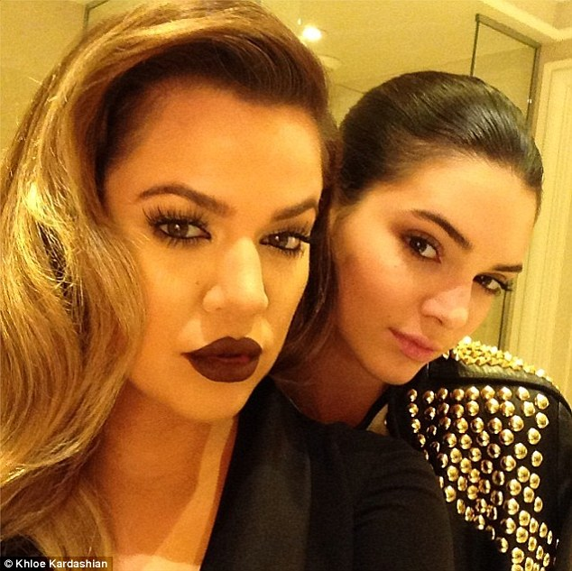 Fashion plates: Khloe and Kendall pose for a selfie pre-party