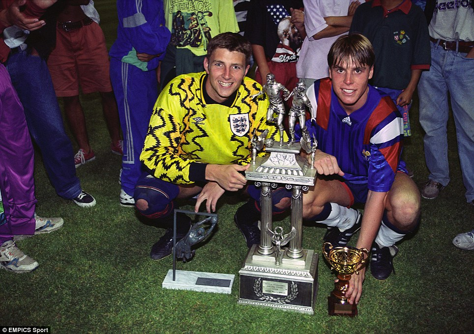 Paul Gerrard and Garry Flitcroft celebrate success at the Toulon Tournament in 1993