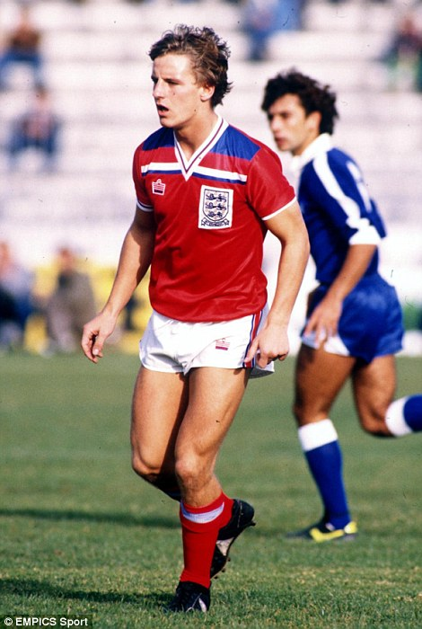 Paul Walsh playing for England's Under-21 team in 1982