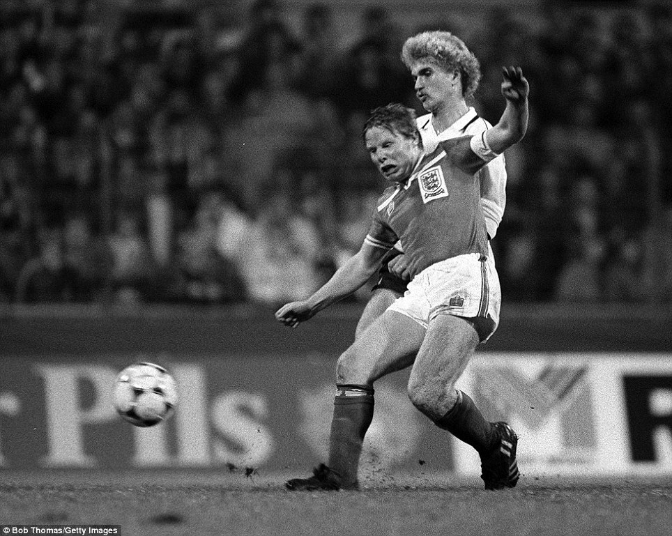 International Football, UEFA Under 21 Championship final, second leg, 1982: England's Sammy Lee is challenged by West Germany's Thomas Van Heesaw